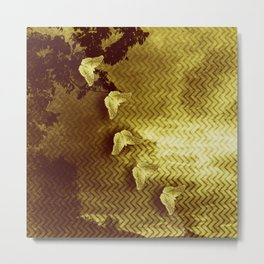 gold butterflies and abstract landscape Metal Print