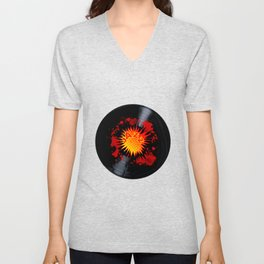 Exploding Jazz Long Playing Record Unisex V-Neck