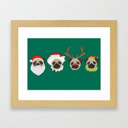 Christmas Pugs Framed Art Print