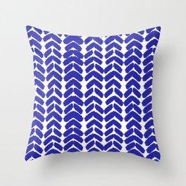 Hand-Drawn Herringbone (Navy Blue & White Pattern) Throw Pillow