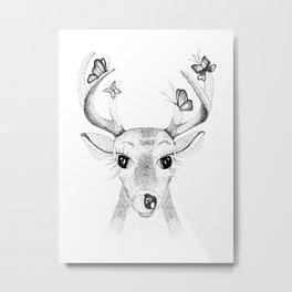 Deer with Butterflies Metal Print