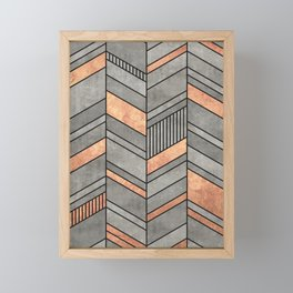 Abstract Chevron Pattern - Concrete and Copper Framed Mini Art Print