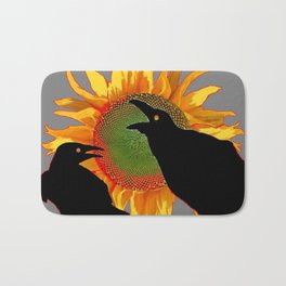 Two Contentious Crows/Ravens & Yellow Sunflower Grey Art Bath Mat
