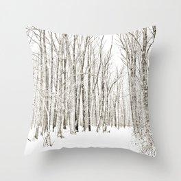 A Winter Walk Through the Woods Throw Pillow