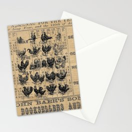 Vintage Chicken Study from 1895 Dictionary on Lancaster, PA antique almanac page Stationery Cards