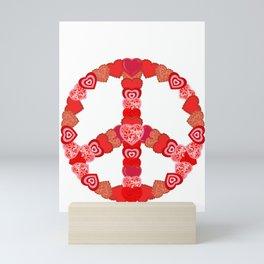 Valentine's Day Hearts Peace Sign Mini Art Print