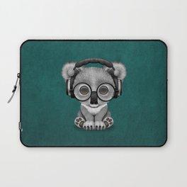 Cute Baby Koala Bear Dj Wearing Headphones on Blue Laptop Sleeve