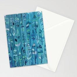 Indigo Feathers Stationery Cards