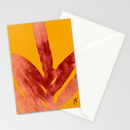 Green Fern on Red On Fire Stationery Cards