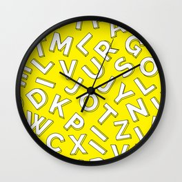 Vector Illustration White Yellow Pattern Children Learning Wall Clock