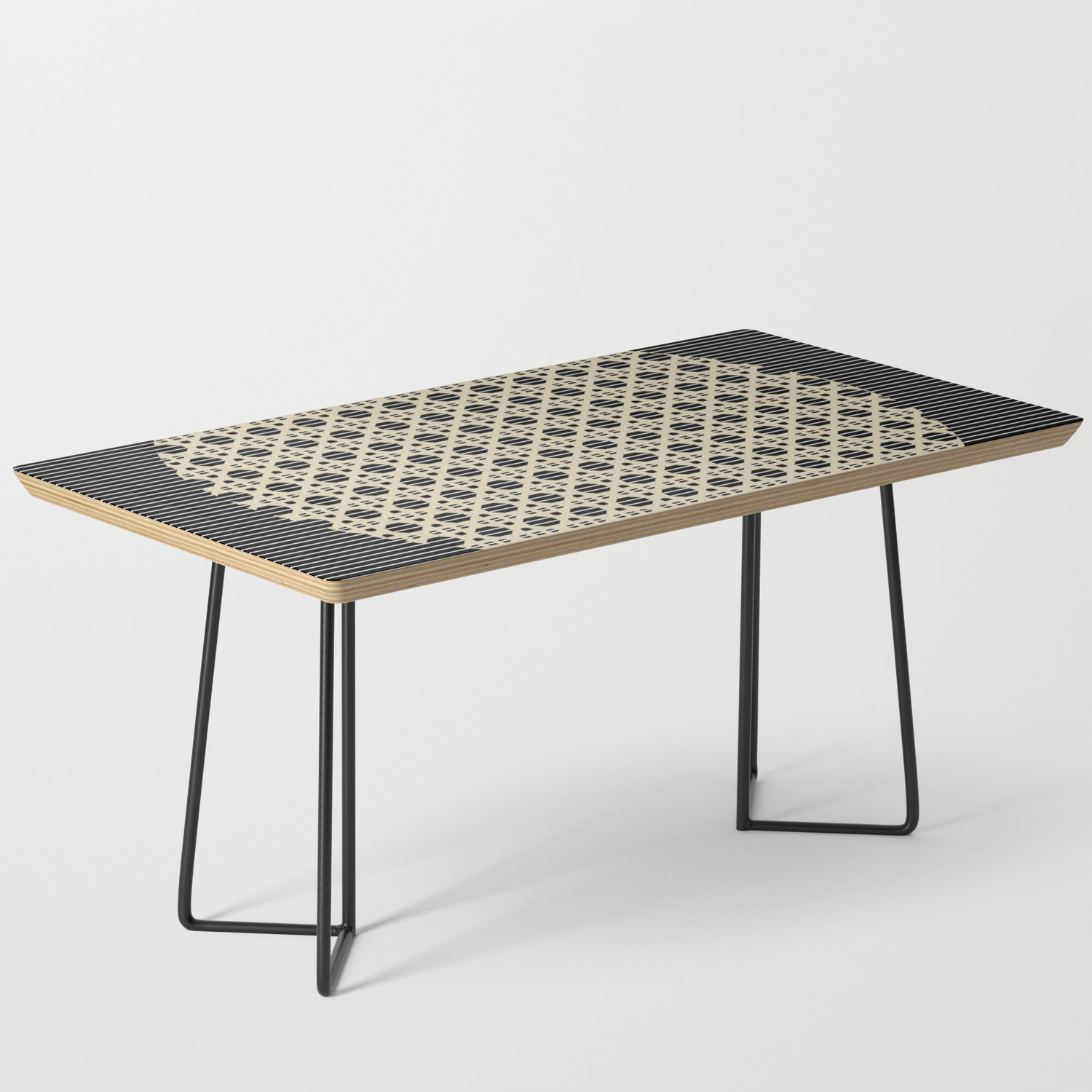 Picture of: Abstract Minimal Black And Tan Basket Circle Contemporary Coffee Table By Andwomandesign Society6