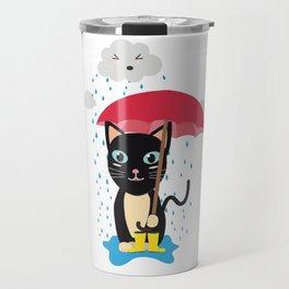 Cat in the rain with Umbrella Travel Mug