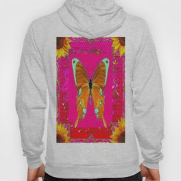 Golden Swallow Tail Butterfly Fuchsia Sunflower Abstract Hoody