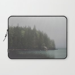 Foggy morning at the lake Laptop Sleeve