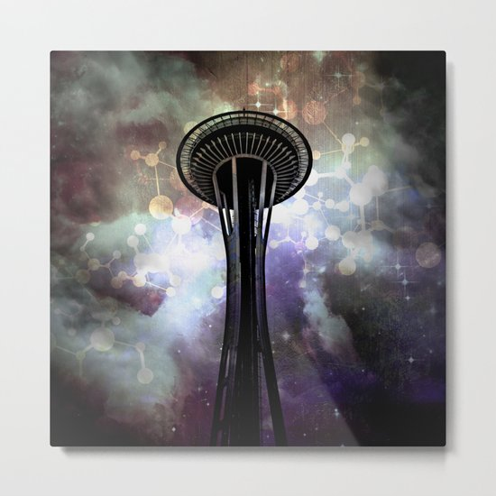 Space Needle - Seattle Stars and Clouds at Night Metal Print