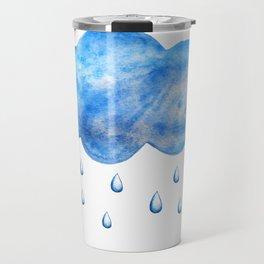Blue watercolor cloud with raindrops Travel Mug