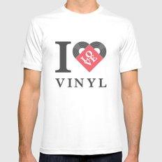 Vinyl Love MEDIUM Mens Fitted Tee White