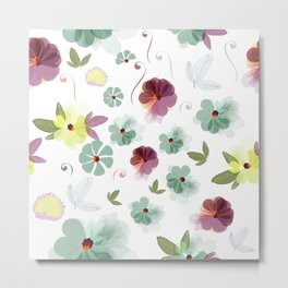 Cute soft spring pattern with flowers Metal Print