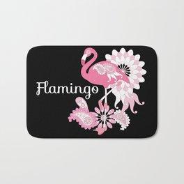 Pink Flamingo Cool Cute Black Bath Mat