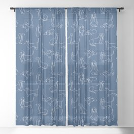 Basset Hounds Pattern on Navy Background Sheer Curtain
