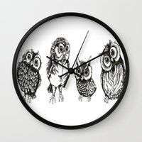 owls Wall Clocks featuring OWLS by Acus