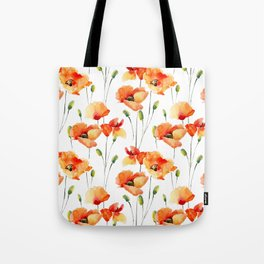 Hand Painted orange yellow watercolor poppies floral Tote Bag