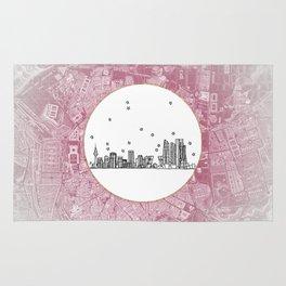 Madrid, Spain City Skyline Illustration Drawing Rug