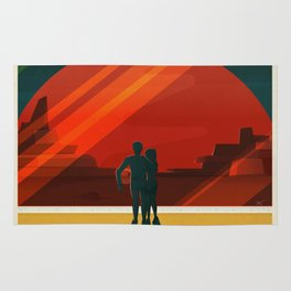 SpaceX Mars tourism poster Rug