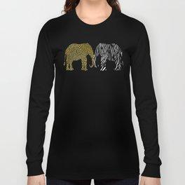 Elephants in Animal Prints Long Sleeve T-shirt