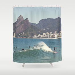 Surfing on Ipanema Beach Shower Curtain