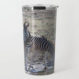 Zebra at the watering hole Travel Mug
