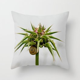 Thistle bud and snail Throw Pillow