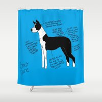 great dane Shower Curtains featuring Great Dane by Lindsay Beth