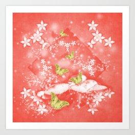 Gold butterflies in magical mushroom landscape Art Print