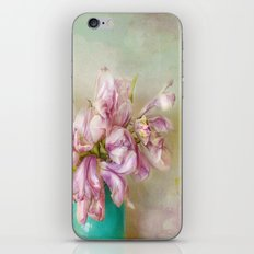 bouquet tulips in blue vase iPhone & iPod Skin