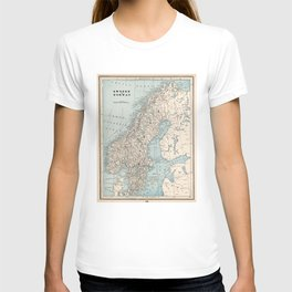 Vintage Map of Norway and Sweden (1893) T-shirt