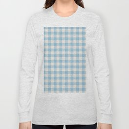 Modern 80s white pastel blue picnic print pattern Long Sleeve T-shirt