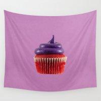 mandie manzano Wall Tapestries featuring Cupcake Love   Royal Purple Velvet by Mandie Marie
