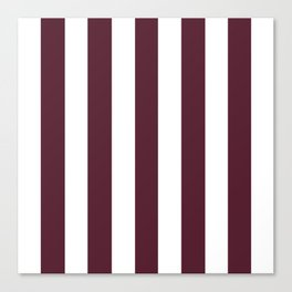 Light chocolate cosmos purple - solid color - white vertical lines pattern Canvas Print