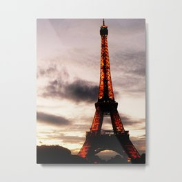 Sunset with Eiffel Tower Metal Print