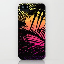 Tropical Black Palm Fronds on Pink Orange Yellow iPhone Case