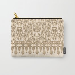 Sepia Macramé Arrowhead Chenille Lace Pattern Carry-All Pouch
