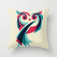 owl Throw Pillows featuring Owl by Jay Fleck