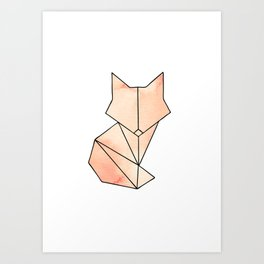 Geometric Fox - Orange Art Print