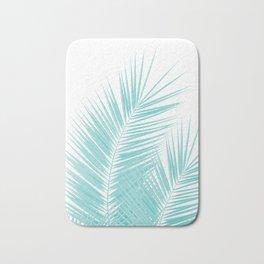 Soft Turquoise Palm Leaves Dream - Cali Summer Vibes #1 #tropical #decor #art #society6 Bath Mat