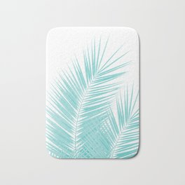Soft Turquoise Palm Leaves Dream - Cali Summer Vibes #1 #tropical #decor #art #society6 Bath Mat
