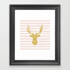 Pink Watercolor Stripes and Gold Deer Framed Art Print