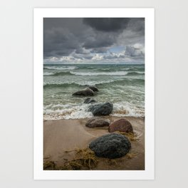 Wilderness Park Shore waves in Sturgeon Bay on Lake Michigan Art Print