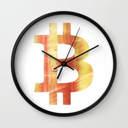 Bitcoin Red Yellow colorful watercolor texture Wall Clock
