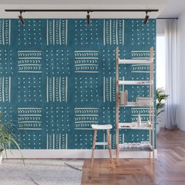 Mud Cloth Patchwork in Teal Wall Mural